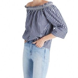 NWT Madewell Smocked Gingham Off the Shoulder Top